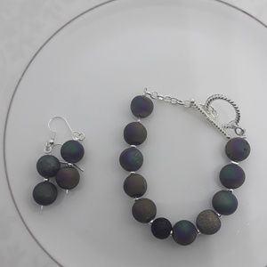 Rainbow Iris Agate Druzy Diffuser Bracelet Set